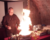 VIDEO: Wine Cave Dinner guests have food flamed in front of them